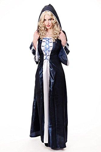 Dress Me Up - Kostüm Damenkostüm dunkelblaues langes Kleid Haube Mittelalter Elfe Fee Magierin Märchen Cosplay L080 Gr. 36
