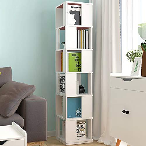 HomeSailing 6 Tiers 360° Rotating Unit Display and Storage Rack Tall Slimline Bookshelf Wooden Corner Floor Standing Bookcase Living Room Bedroom Kids Room Small Space
