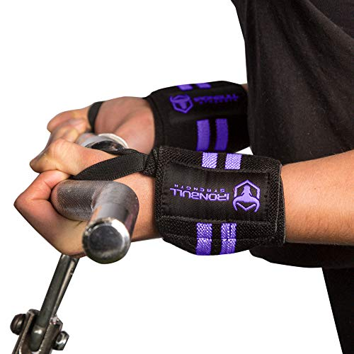 """Women Wrist Wraps with Thumb Loops - 12"""" Professional Grade - Wrist Support Brace and Compression for Cross Training, Weight Lifting, Powerlifting, Strength Training (Black/Purple)"""