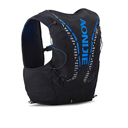 AONIJIE Veste de randonnée avec sac à dos de sport de 12 L intégré, légère, pour le plein air, les marathons, la course à pied, le cyclisme, Noir M/L