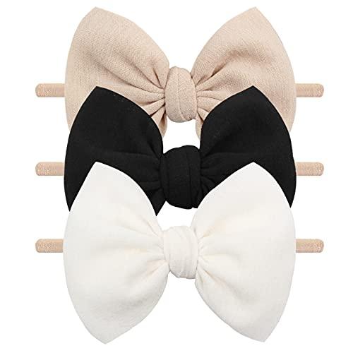 Baby Girls Nylon Headbands YanJie Newborn Bows Handmade Hair Bows Hairbands Hair Accessories for Newborn Infant Toddlers Kids(Beige Black White)