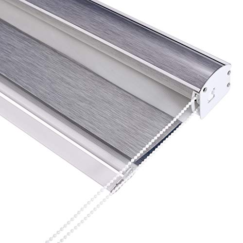 WeXi Blackout Zebra Roller Blinds Shades Custom Window Curtains for Home/Living Room/Bedroom/Door (Grey, W74xH72 inch)