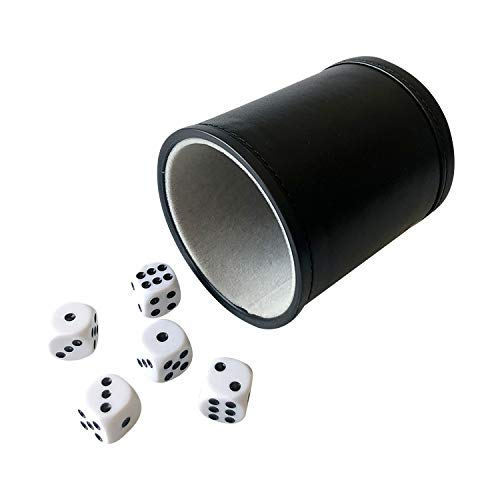 YH Poker Felt Lined Professional Dice Cup with 5 Dice (Gray)