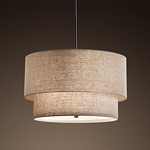 Ywyun Moderno lampadario in lino doppio, lampada da soffitto americana semplice, camera da letto pastorale appendente luci (Color : A)