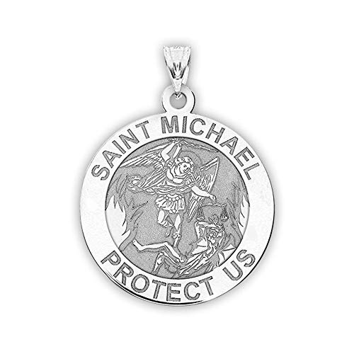 PicturesOnGold.com St Michael Pendant - Saint Michael Pendant Religious Medal Necklace - 1 Inch - Size of a Quarter in Sterling Silver - Includes 18 inch Chain. (Necklace + Engraving)