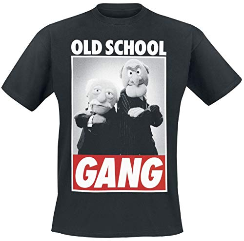 Muppets Camiseta Hombre Old School Gear Waldorf & Statler Algodón Negro