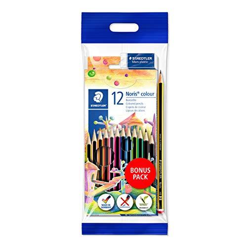 Lápis de Cor, Staedtler, Noris Colour, 61 SET6 ST 12, 12 Cores, Kit com Lápis Preto HB 2 e Borracha