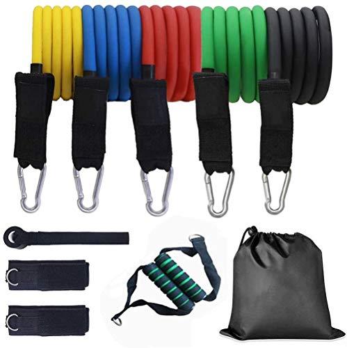 XWXBB weerstandsbanden, set fitnessbanden, 5 oefenbanden, expander fitnesshandvatten, deurankers, enkelbanden? en draagtas voor krachttraining, fysiotherapie, 11 stuks