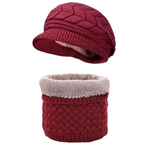 CheChury Mujer Bufanda Sombrero de Boina Set Invierno Bufanda y Gorro de Punto Sombrero Caliente Calentador de Cuello Bufanda de Forro de Lana
