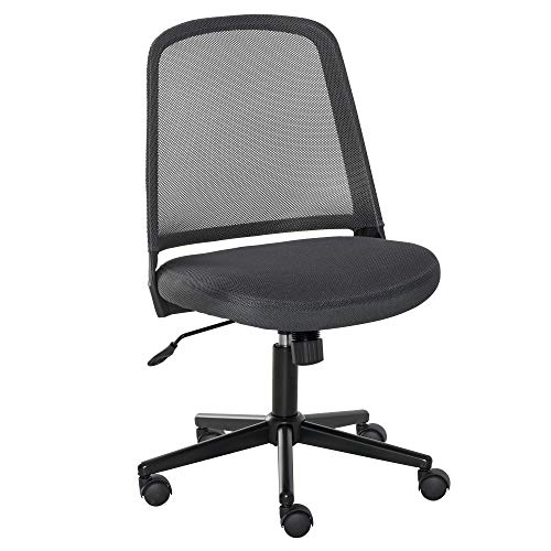 Vinsetto Swivel Mid Back Office Chair Mesh Fabric Computer Home Study Bedroom Conference Armless Leisure Chair with Wheels, Grey