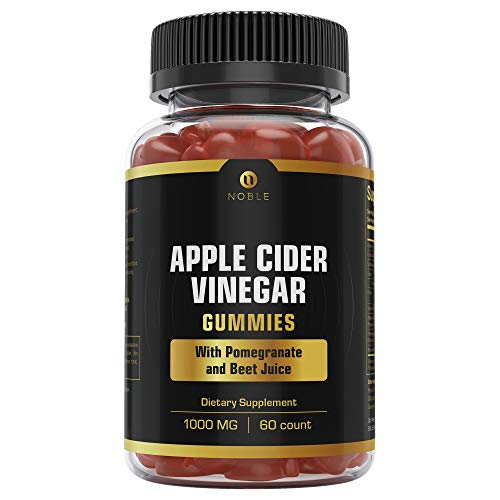 Organic Apple Cider Vinegar Gummies, Boosted with Pomegranate and Beet Juice Vitamins, Vegan, Gluten Free, Healthy Weight Loss, Detox Cleanse, Immune Support Supplement, -Gummy 60 Count by Noble