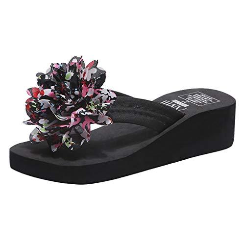 Sandales d'été Femme Floral Tongs Chaussures d'Été Sandales à Talon compensé À la Mode Pantoufles Plage Pente Chaussons à Plateforme Salle de Bain Bluestercool