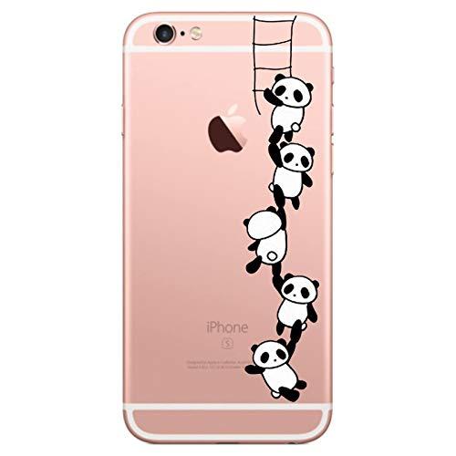Caler Kompatibel mit/Ersatz für Hülle 6S/6 Hülle Weiche Flexible Silikon-Handy-Hülle Transparente Ultra Slim TPU dünne stoßfeste mit Motiv Tasche Etui Schutzhülle Case Cover (Panda 2)