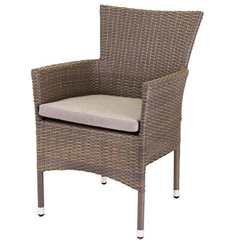 Générique Lot de 2 fauteuils de Jardin empilables en rotin Taupe avec Coussin Madrid - L 55 x l 66 x H 87