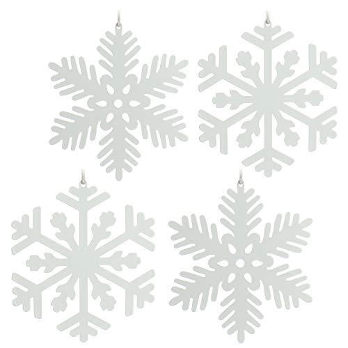 com-four 4X Decorazione per Albero di Natale in Metallo - Decorazione Natalizia Fiocco di Neve - Ciondolo per Natale in Bianco [la Scelta del Motivo Varia] (4 Parti - 11,5 cm)