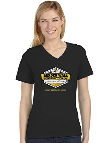 Donald Trump Border Wall Construction Company V-Neck Fitted Women T-Shirt Large Black