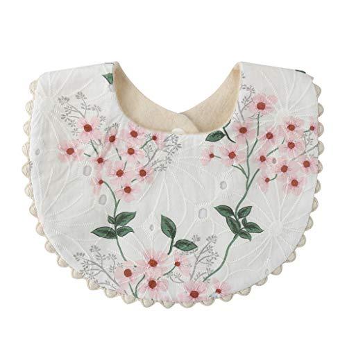 YU-HELLO _Baby Baberos Princesa Bordado Floral Bandana Saliva Toalla Recién Nacido