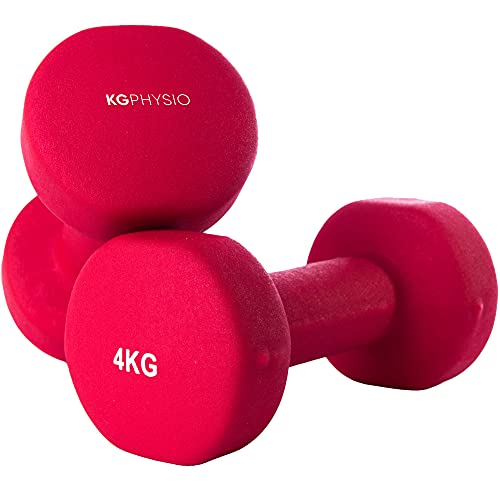 KG Physio Dumbbells Set and A3 Poster with Exercise Examples - 4kg dumbbells pair with Neoprene Coating, Comfortable grip, Sweat-resistant and Anti-roll Technology dumbbell set.