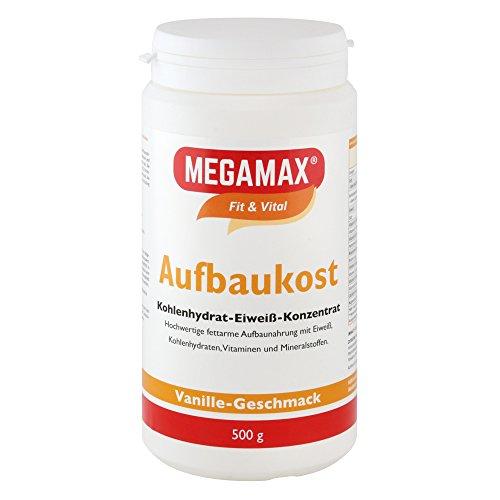 MEGAMAX - Aufbaukost - Suplemento para Ganar Peso y Masa Muscular - Vainilla - Solo un 0,5% de Grasa - 500 g