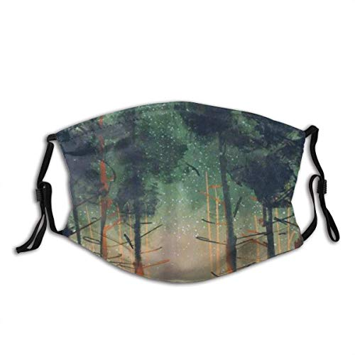 Face Cover Happy Cam-per Night Forest with Tent Tall Trees Stars and Fireflies Balaclava Reusable Mouth Bandanas Outdoor Neck Gaiter with 2 Filters