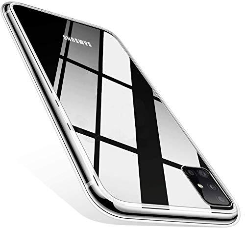 IOMOY Samsung Galaxy A71 Hülle, Crystal Transparent Ultra Dünn [Anti-Vergilbung] PC Rückschale Schutzhülle, Fallschutz rutschfest Stylische Handyhülle für Samsung A71