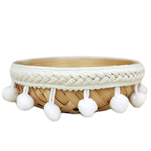 Yalulu 5 yardas con pompones de encaje, borlas, flecos, cinta para manualidades, accesorios de costura, decoración (color blanco)