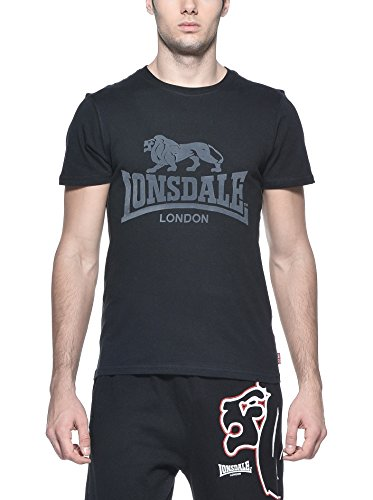 Lonsdale Smith Reloaded - T-Shirt - Droit - Homme, Noir (Black), Large (Taille fabricant: L)