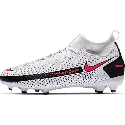 Nike JR Phantom GT Academy DF FG/MG, Scarpe da Calcio, White/Pink Blast-Black-Black, 36 EU