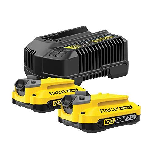 STANLEY Fatmax SFMCB12D2 QW Paquete de 2 baterías V20 18V li-ion 2AH y cargador V20 li-ion 18V 2A