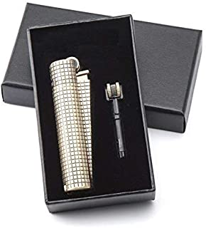 CLIPPER Butane Refillable Classic Retro Bronze Metal Lighter - Limited Edition with Katzone Gift Package (Plaid Pattern)