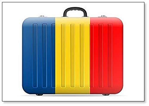 Maleta de viaje con la bandera de Rumanía – Imán clásico para nevera