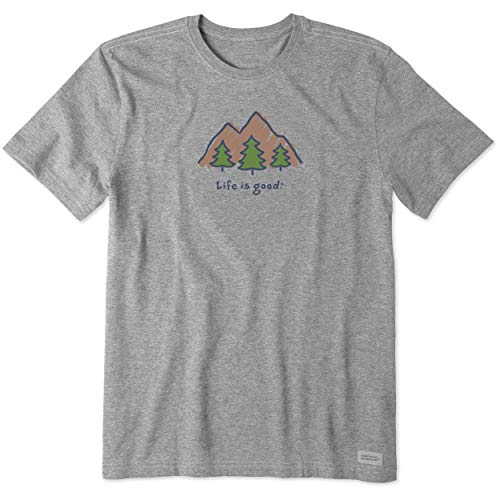 Life is Good Men's Vintage Crusher Graphic T-Shirt Mountains, Heather Gray, Large