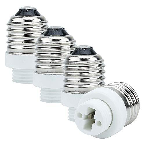 INTIRILIFE 4X Adaptador de Base de lámpara E27 a G9 en Blanco - Socket Adapter Convertidor de 4 Piezas para Portador de lámpara para Bombillas, LED, halógeno, lámpara de Ahorro de energía