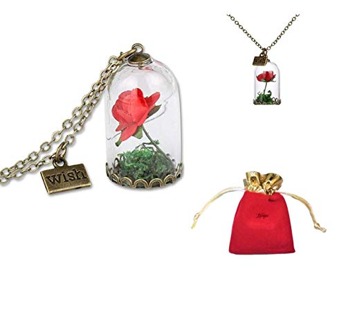 New Disney Beauty and the Beast Inspired Enchanted Rose Dome Bronze Necklace Pendant