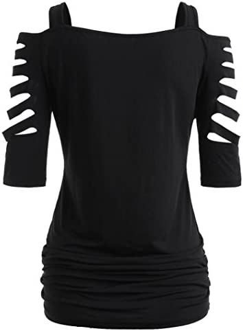 Women Sexy Off Shoulder Half Sleeve T Shirt Hollow Out Pleated Casual Solid Tops Black Large product image