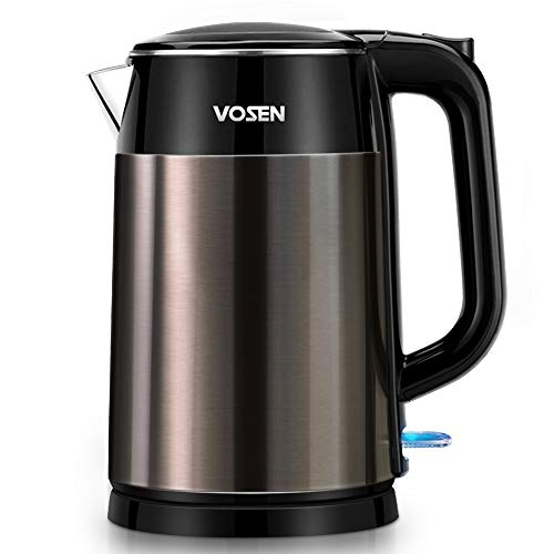 Electric Kettle VOSEN Electric Tea Kettle 17L Double Wall Stainless Steel BPA Free Cool Touch Kettle with Auto ShutOff amp Boil Dry Protection 1500W Fast Boiling