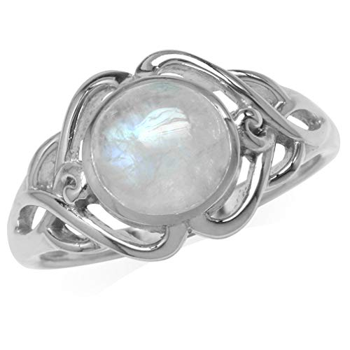 Silvershake 8mm Natural Round Shape Moonstone White Gold Plated 925 Sterling Silver Celtic Knot Solitaire Ring Size 9
