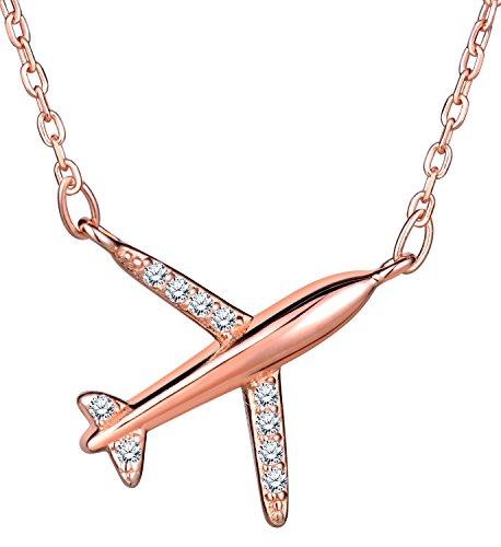 Unendlich U Fashion Flugzeug Damen Halskette 925 Sterling Silber Zirkonia Anhänger Kette mit Anhänger, Rosegold