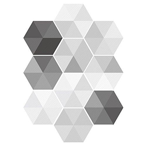 Momangel 10 pegatinas 3D para azulejos hexagonales, antideslizantes, para pared de cocina, baño, decoración de pared, 20 x 9 pulgadas multicolor