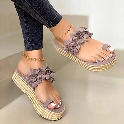 FAYHRH Mujeres Zapatos de Piscina Chanclas de Playa,Chanclas de Flores de Gran tamaño, Ropa Exterior Antideslizante de Suela Gruesa, Sandalias y Zapatillas de Mujer talón con Pendiente-púrpura_38