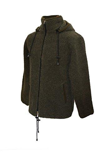 Karbaro Jacke aus Schafwolle mit Kapuze Jägergrün (S)