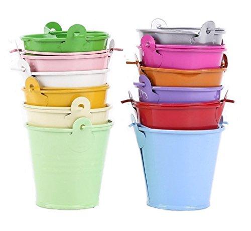 Da.Wa 12 mini cubos de metal para flores multicolor mini barril de lata decoracion mesas