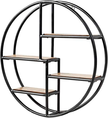 FANTASK Round Wall Shelf Wood Floating Decorative Shelf w Metal Structure Circle Décor Shelf for Office Bedroom Kitchen Study Living Room