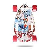 RROWER Eggboard Mini Longboard Mini Cruiser Skateboard Skateboard Completo Skate Boards per Principianti Adulti Bambini, 17'Minicruiser per Sport estremi all'aperto,N