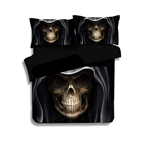3d Totenkopf Bettwäsche Bettbezug-Set Ritter Totenkopf Skelett-Set mit Krieger Skull Bettwäsche- und Kissenbezug, Polyester, schwarz/weiß, Double-200*200cm for 1.5M Bed Bettwäsche (B,135*200cm)