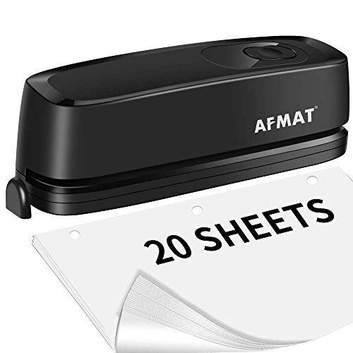 3 Hole Punch, AFMAT Electric Three Hole Punch Heavy Duty, 20-Sheet Punch Capacity, AC or Battery Operated Paper Punch, Effortless Punching, Long Lasting Paper Puncher for Office School Studio, Black
