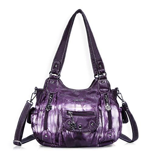 Angel Barcelo Fashion Hobo Womens Soft Leather Top-handle Bag Handbags and Purses Casual Shoulder Bag Purple