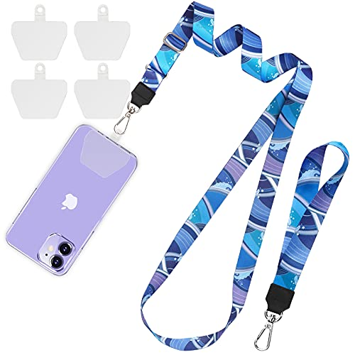 SHANSHUI Cell Phone Lanyard, Adjustable Neck Crossbody Strap and Wrist Strap With 4 Durable Clear Patches Tether Key Chain Holder Universal Compatible with iPhone and All Smartphones(BlueWave)
