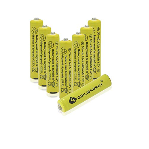 GEILIENERGY NiCd AAA 1.2V 600mAh Triple A Rechargeable Batteries for Solar Light Solar Lamp Garden Light(8 PCS)