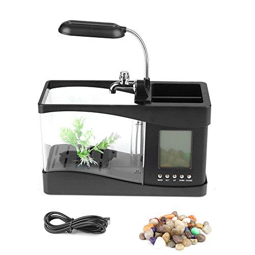 Fdit Aquarium Multifonctionnel USB Rechargeable de Bureau - Mini Vivier avec Pompe à Eau, Fonction Calendrier et Horloge - Porte-Stylo et lumière LED (Noir)